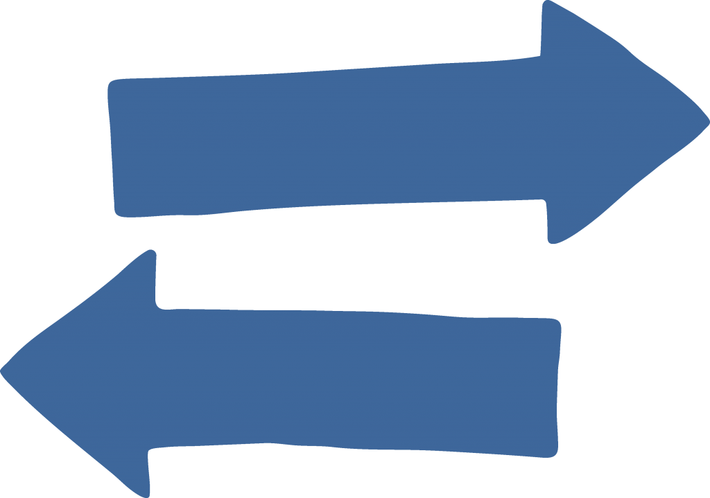 logo with vertically stacked blue arrows pointing right and left