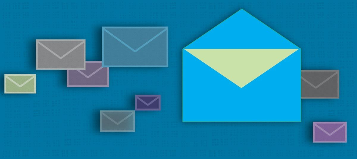scattered envelopes over a deep-blue field